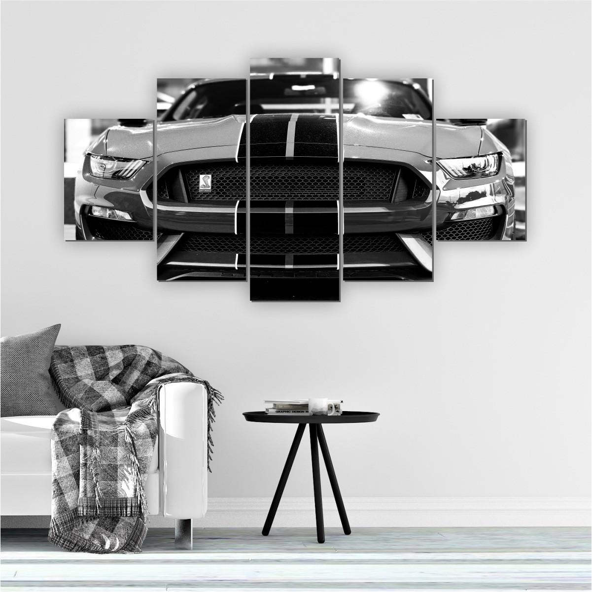 Quadros Decorativos Mosaico Quarto Sala Carro Preto e Branco 5 peças