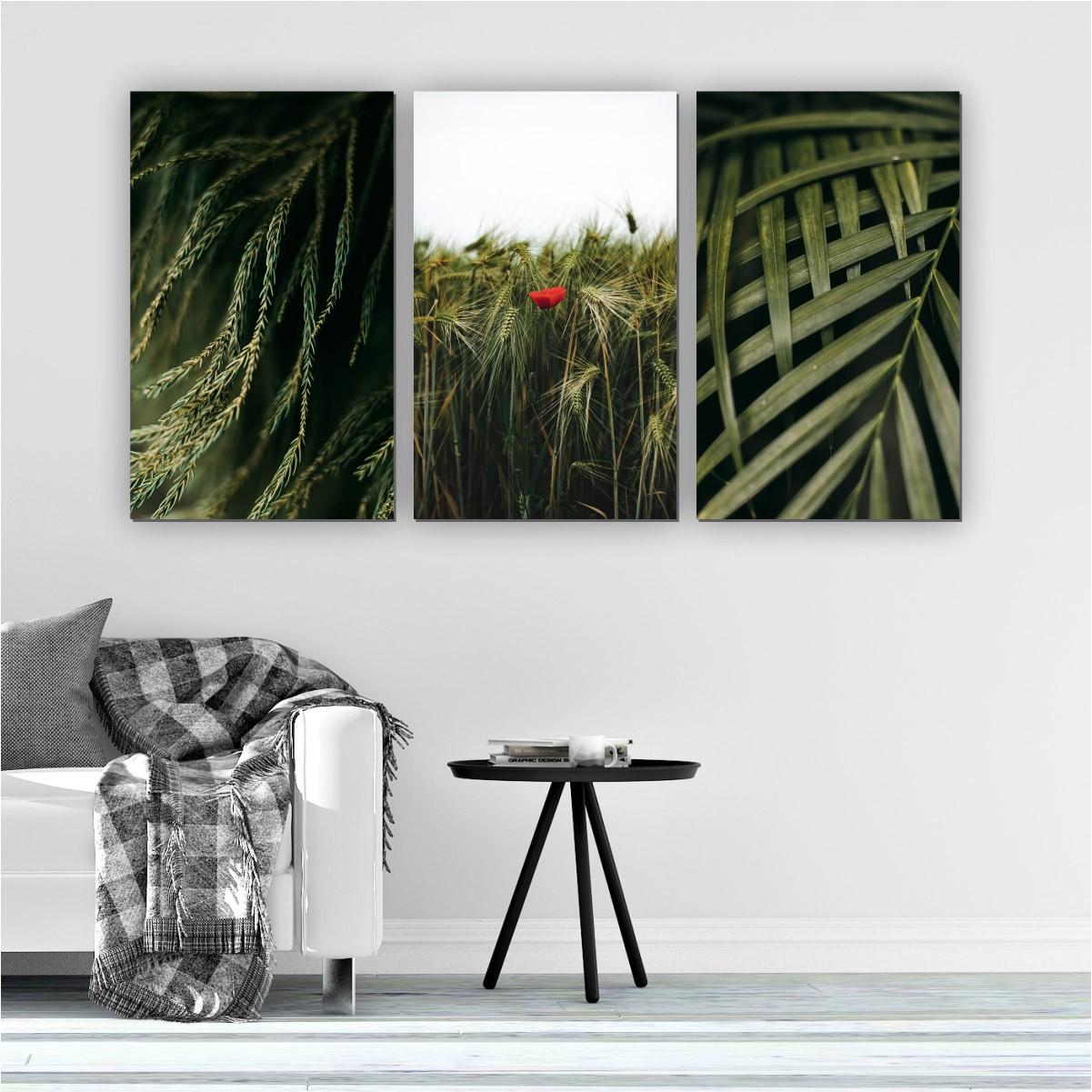 Quadros Decorativos Mosaico Quarto Sala Folhas 3 peças - 126x65cm