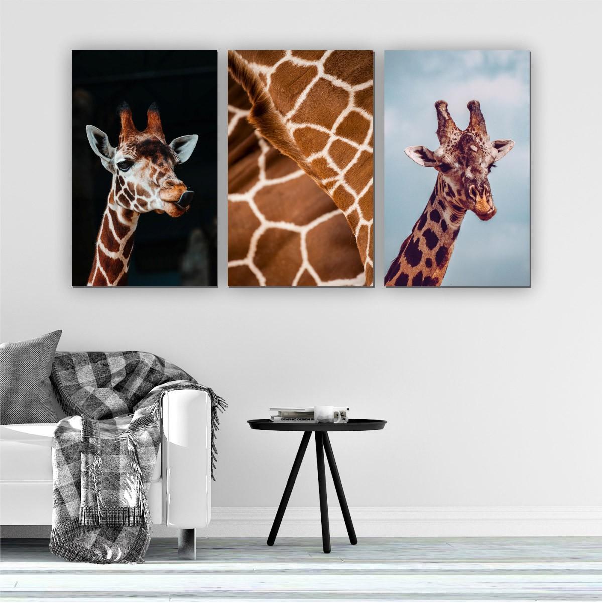 Quadro Decorativo Mosaico Quarto Sala Girafa 3 peças - 126x65cm