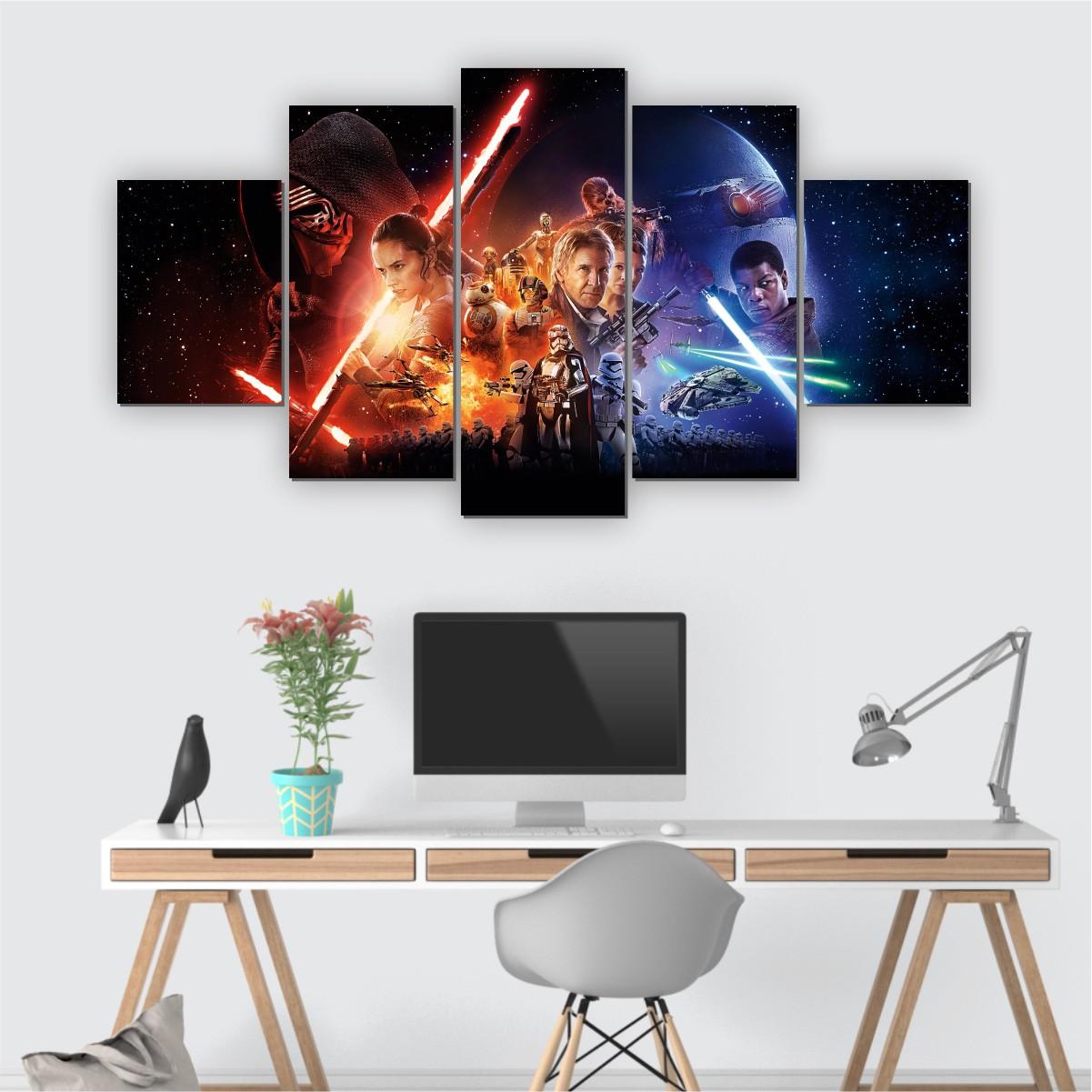 Quadros Decorativos Mosaico Quarto Sala Star Wars  5 peças