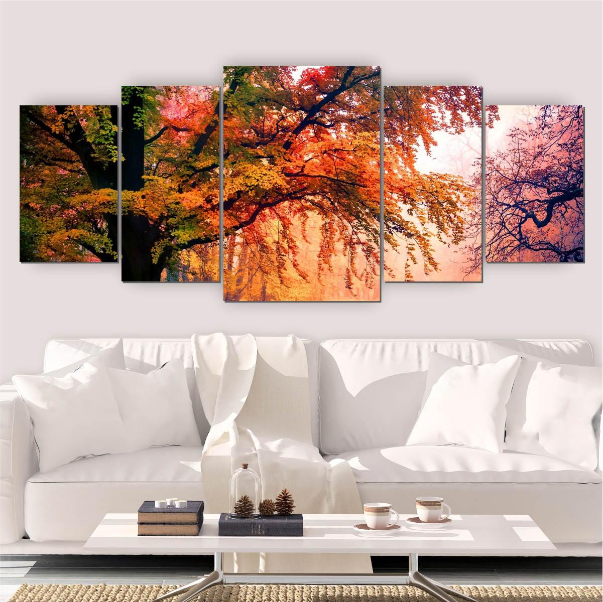 Quadro Decorativo Mosaico Sala Árvore Natureza II 5 peças 144x60cm