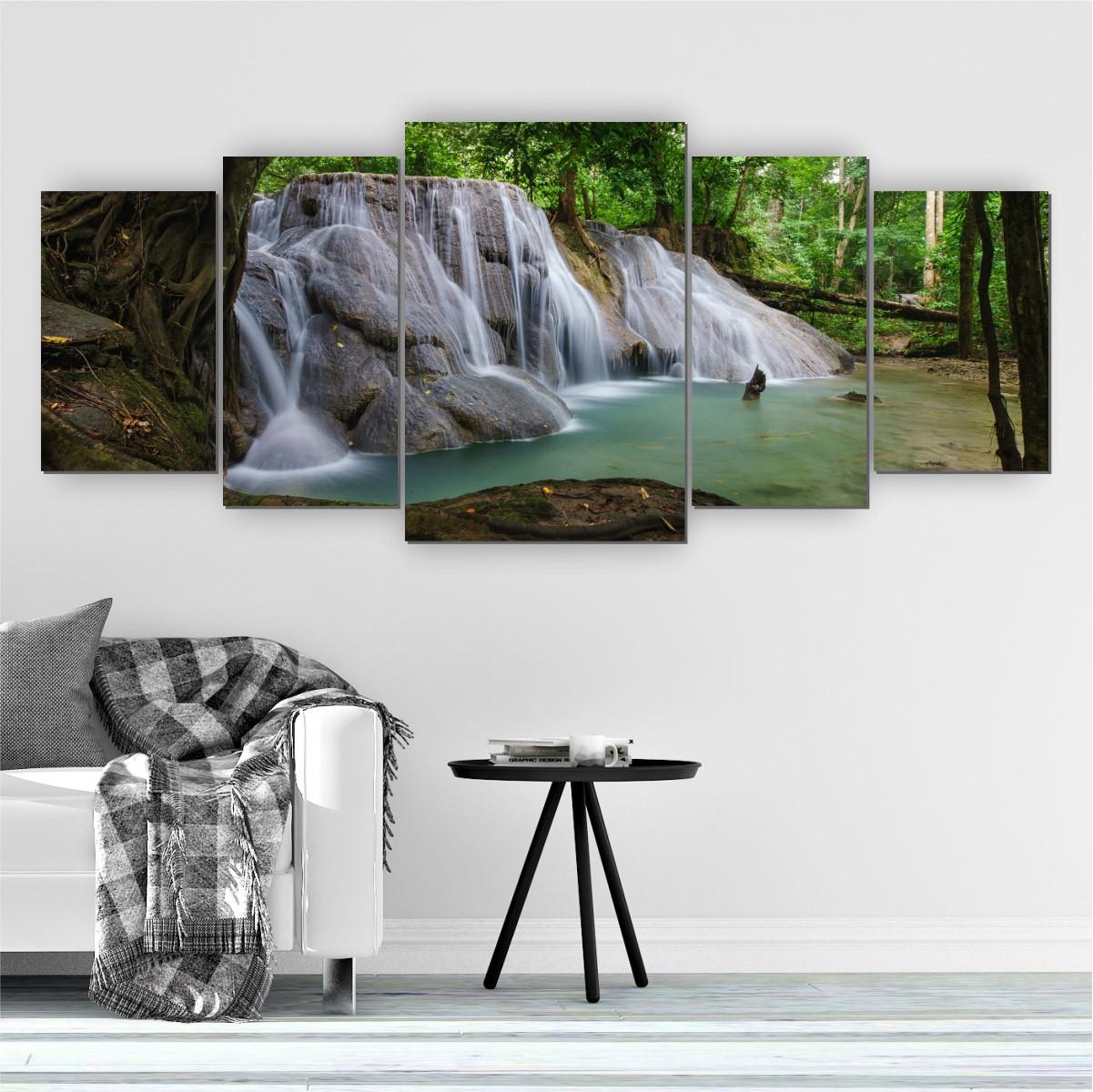 Quadro Decorativo Mosaico Sala Cachoeira Natureza 5 peças 144x60cm