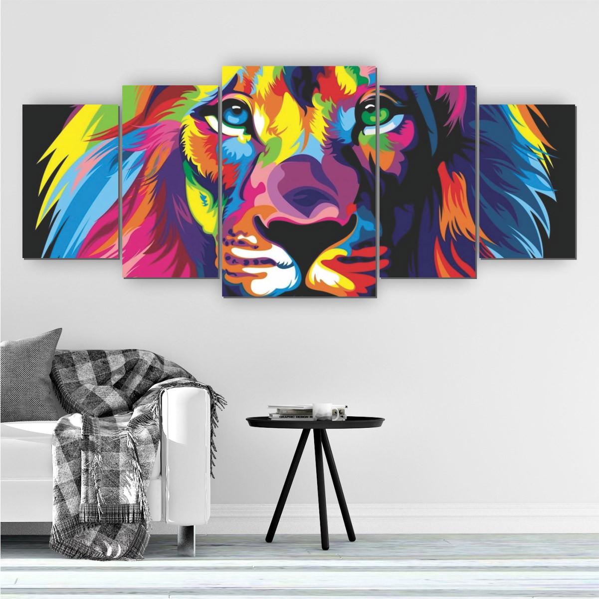 Quadro Decorativo Mosaico Sala Leão Colorido 5 peças 144x60cm