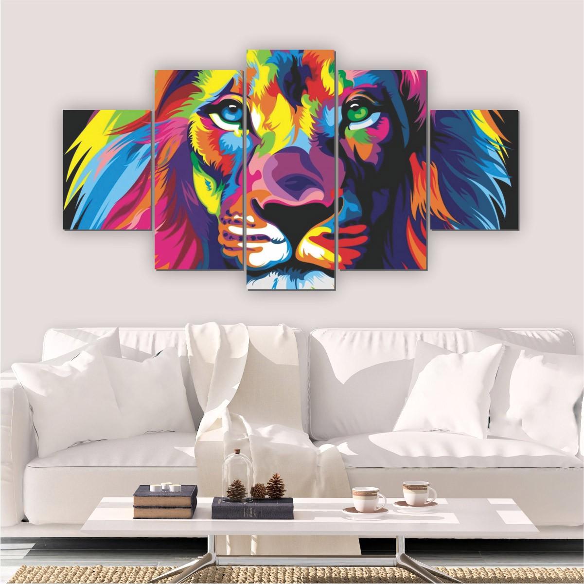 Quadros Decorativos Mosaico Sala Leão Colorido 5 peças
