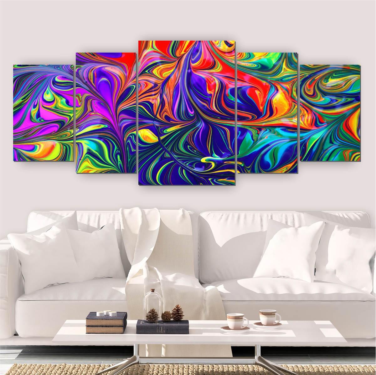 Quadros Decorativos Mosaico Sala Pintura Aquarela 5 peças 144x60cm