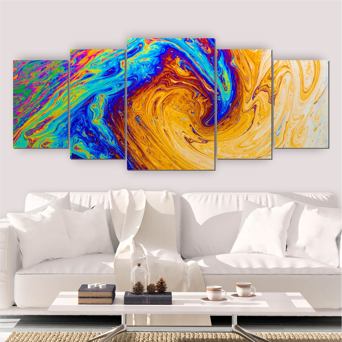 Quadro Decorativo Mosaico Sala Quarto Pintura 5 peças 144x60cm