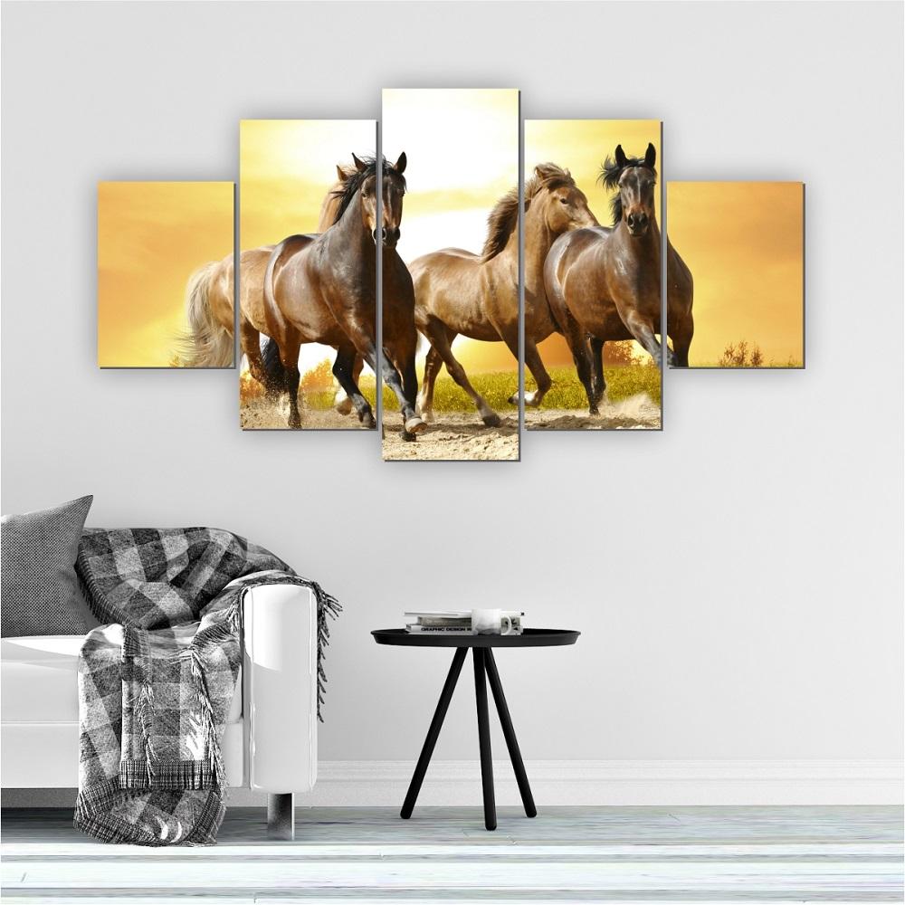 Quadros Decorativos Mosaico Quarto Cavalos 5 peças