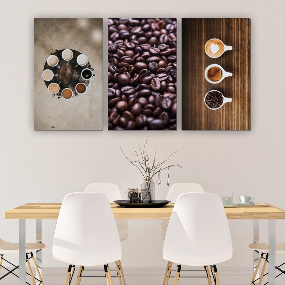 Quadros Decorativos Mosaico Quarto Sala Café 3 peças - 126x65cm
