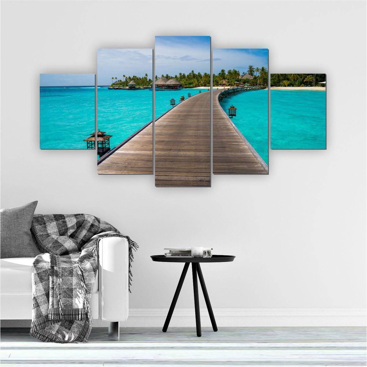 Quadros Decorativos Mosaico Quarto Sala Maldivas 5 peças