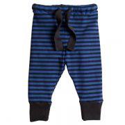 Calça infantil bebê canelada azul listras