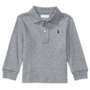 Camisa polo infantil ralph lauren manga longa cinza