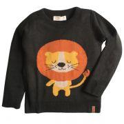 Casaco suéter infantil tricô masculino leãozinho preto