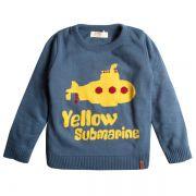 Casaco suéter infantil tricô masculino submarino amarelo