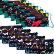 Kit 10 máscaras proteção infantil tecido lavável reutilizável estampa dinossauro colors e P&B