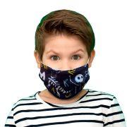 Kit 2 máscaras proteção infantil tecido lavável reutilizável estampa dinossauro P&B