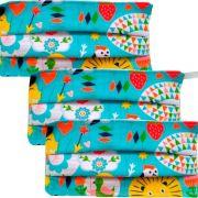 Kit 3 máscaras proteção infantil tecido lavável reutilizável estampa coruja