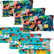 Kit 6 máscaras proteção infantil tecido lavável reutilizável estampa natureza e coruja
