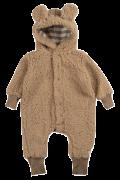 Macacão infantil pelúcia carneirinho marrom-claro