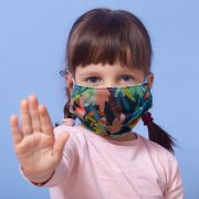 Kit 2 máscaras proteção infantil tecido lavável reutilizável estampa natureza