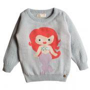 Casaco suéter infantil tricô feminino sereia