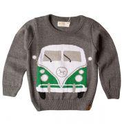 Casaco suéter infantil tricô masculino kombi cinza-chumbo