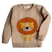 Casaco suéter infantil tricô masculino leãozinho bege