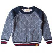 Casaco suéter infantil tricô masculino sport azul