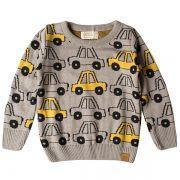 Casaco suéter infantil tricô masculino yellow car cinza-mescla