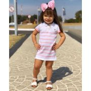Vestido infantil polo tricô margarida rosa Mini Lady