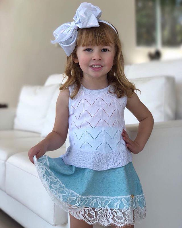 Blusa infantil feminina tricô amor perfeito branca Mini Lady