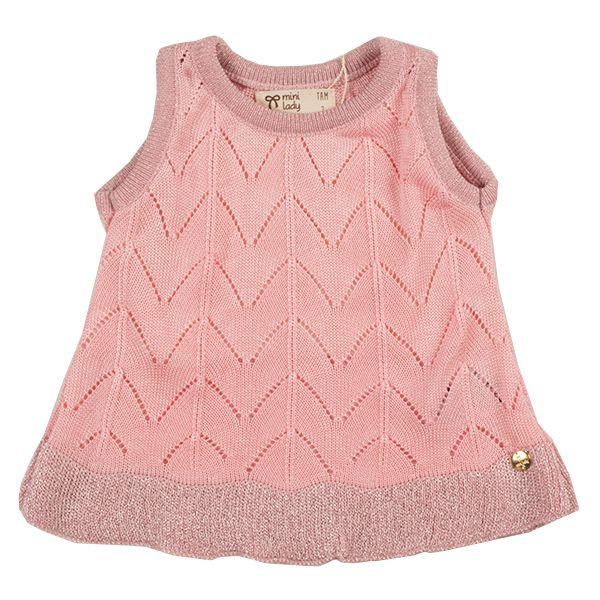 Blusa infantil feminina tricô amor perfeito rosa Mini Lady