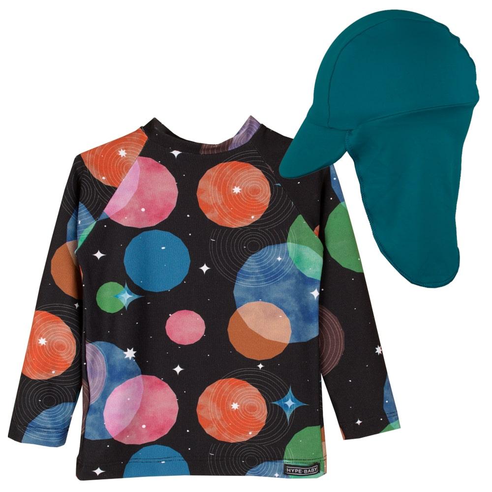 Blusa infantil Proteção Solar UV 50+ Bebê Galáxia c/ boné
