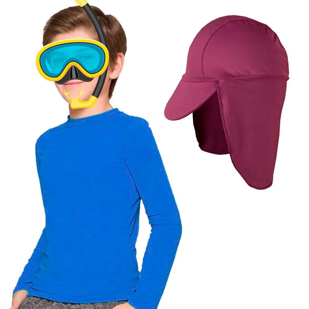 Blusa infantil Proteção Solar UV 50+ unissex c/ boné brinde