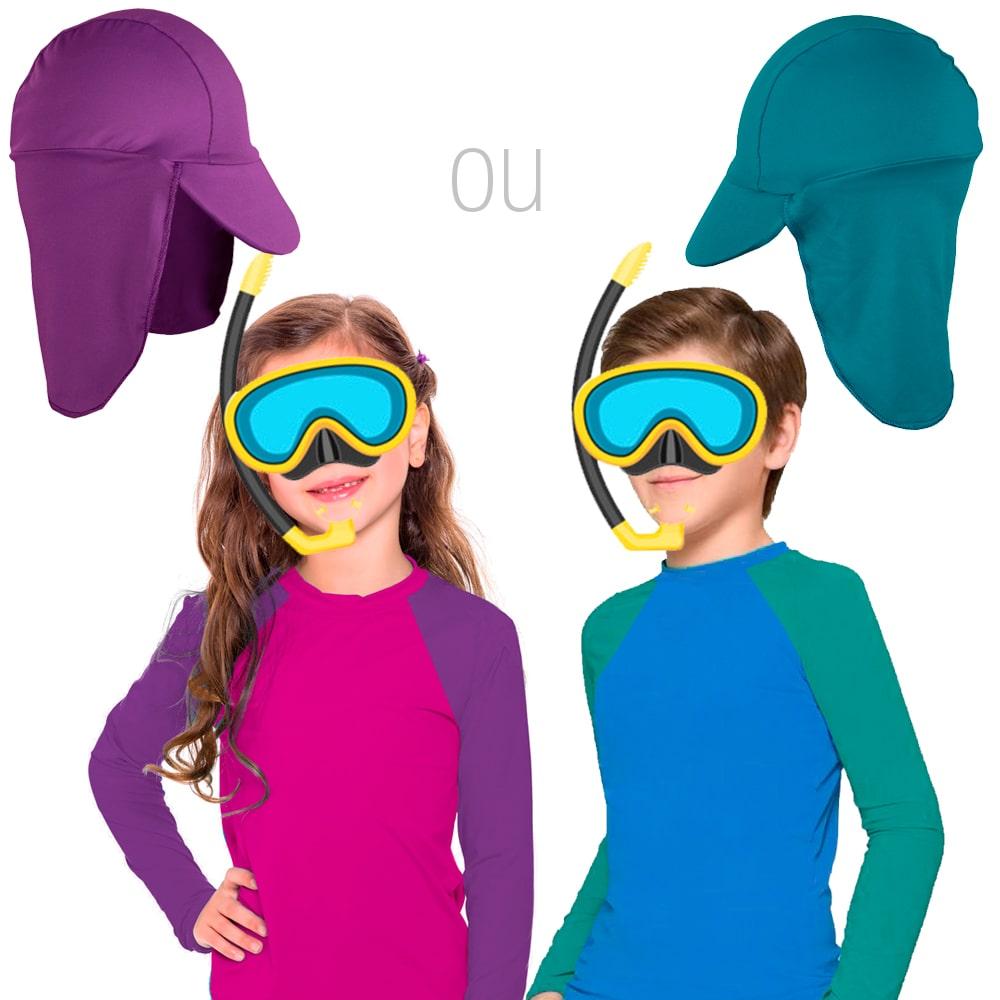 Blusa infantil Proteção Solar UV 50+ Masculina Feminina Bebê conjunto Praia c/ boné