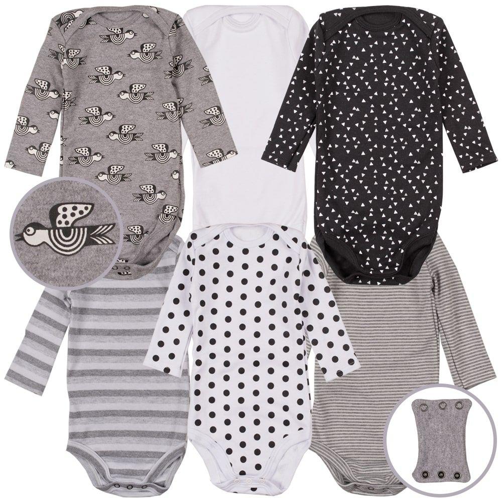 Body infantil bebe kit manga longa minimalista passarinho