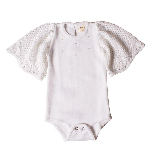 Body infantil feminino tricô branco alfazema Mini Lady
