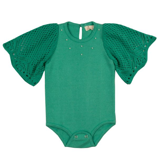 Body infantil feminino trico verde alfazema Mini Lady