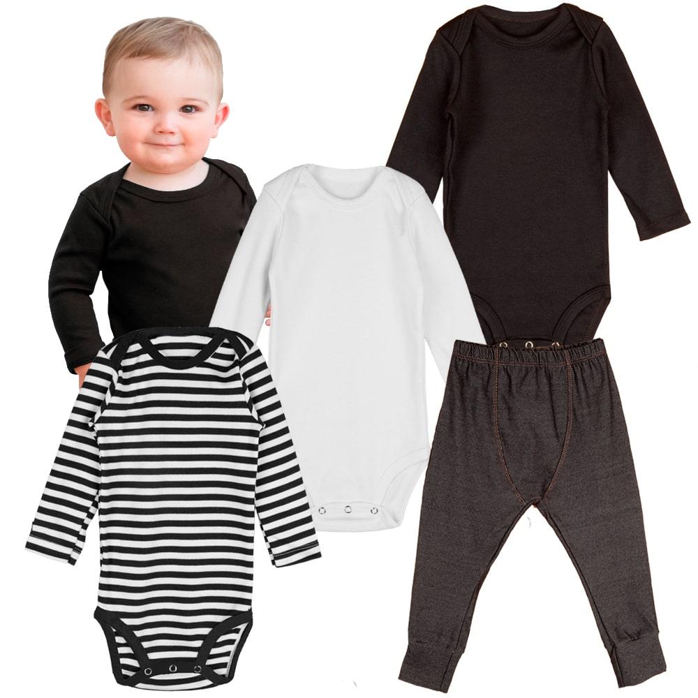 Body infantil kit manga longa e calça jeans bebe minimalista