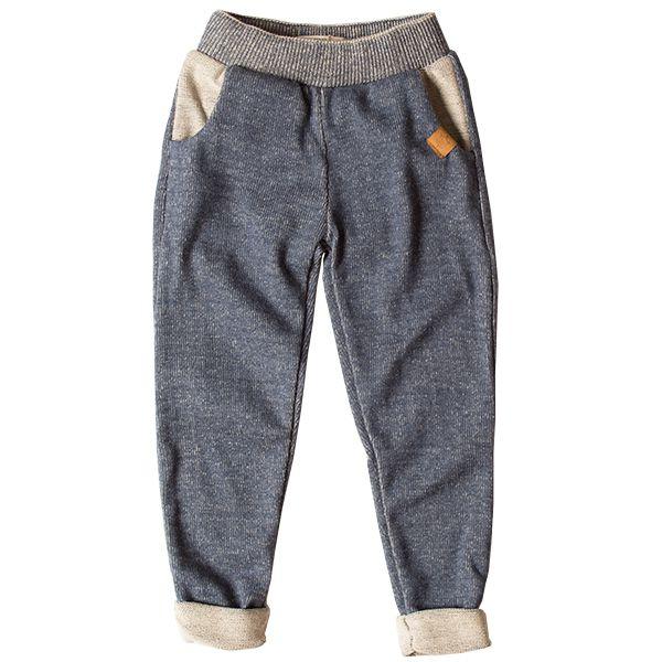 Calça infantil masculina malha tricô Rick azul-jeans