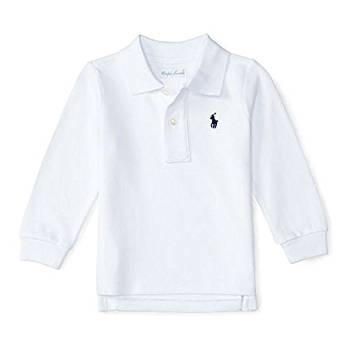 Camisa polo infantil ralph lauren manga longa branca