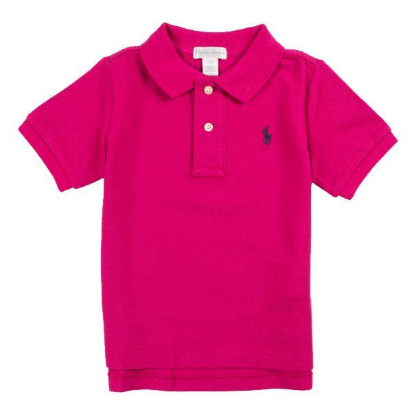 Camisa polo infantil Ralph Lauren rosa escuro