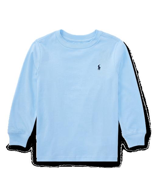 Camiseta infantil Ralph Lauren manga longa azul claro