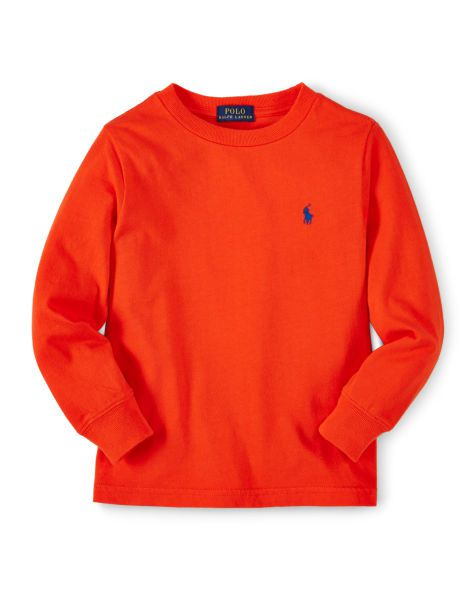 Camiseta infantil Ralph Lauren manga longa laranja