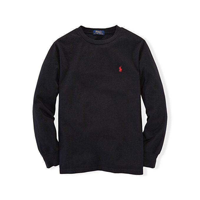 Camiseta infantil Ralph Lauren manga longa preta