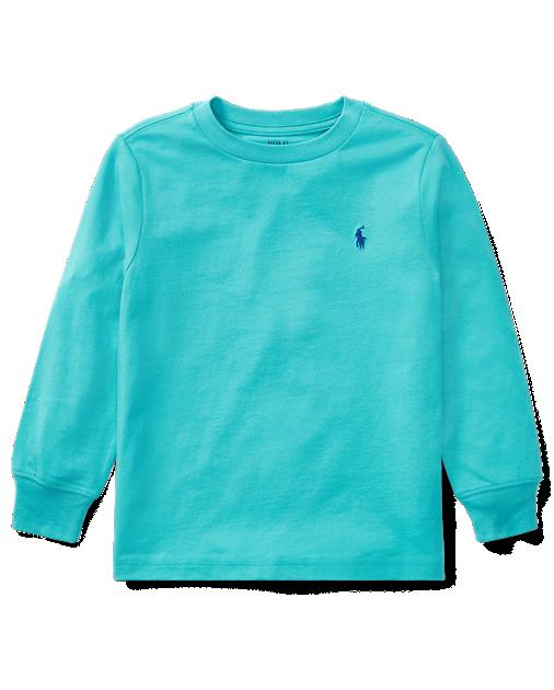 Camiseta infantil Ralph Lauren manga longa verde água