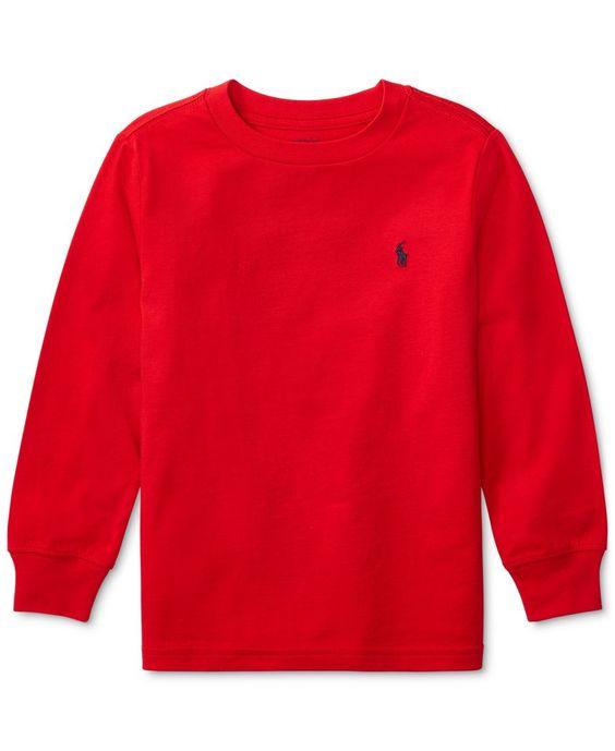 Camiseta infantil Ralph Lauren manga longa vermelha