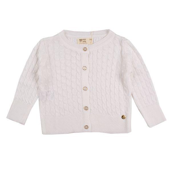 Cardigan infantil feminino tricô dália branco Mini Lady