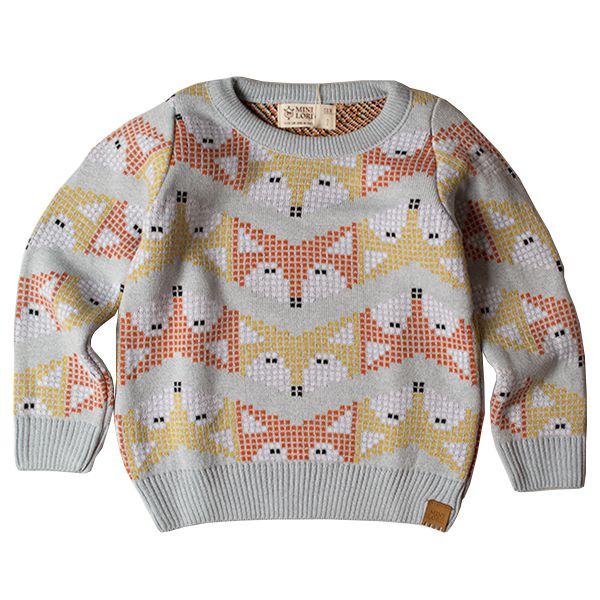 Casaco suéter infantil tricô masculino fox azul-claro