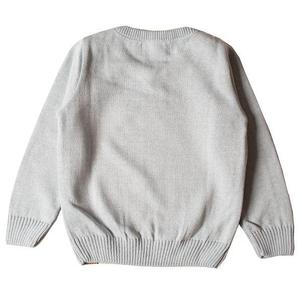Casaco suéter infantil tricô masculino guaxinim azul-claro