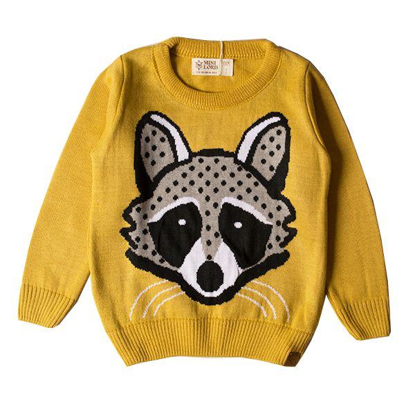 Casaco suéter infantil tricô masculino guaxinim mostarda